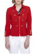 Tahari - Coachman Collar Jacket - Tomato Red