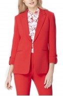 Tahari - Tab-Cuff Crepe Jacket - Cherry Red