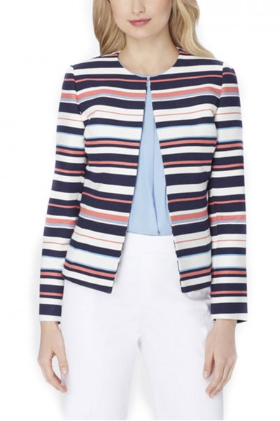 Tahari - TextuRed Stripe Jacket - Navy Ivory Coral