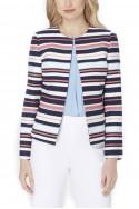 Tahari - TextuRed Stripe Jacket - Navy Ivory Coral