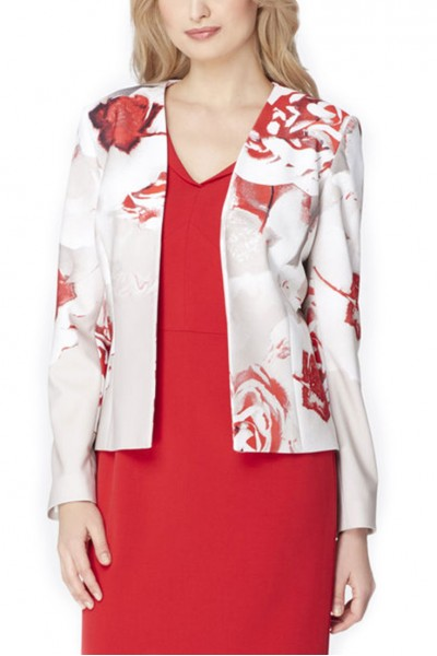Tahari - Rose Print Pique Jacket - Ivory Beige Red