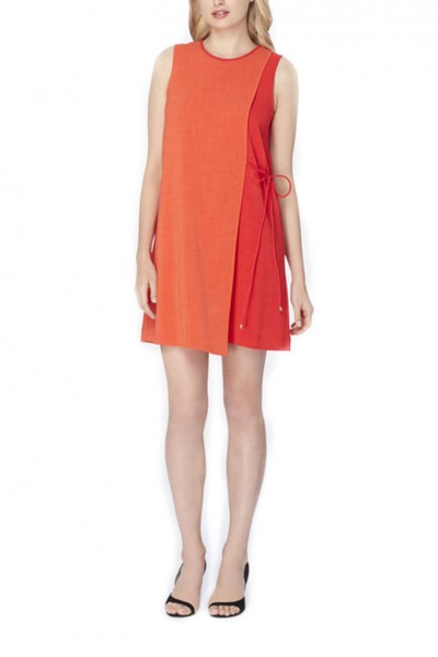 Tahari - Colorblocked Crepe Overlay Dress - Orange Poppy
