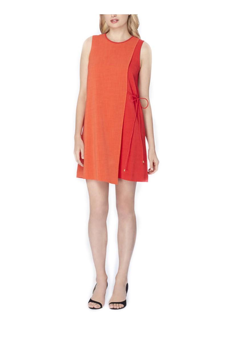Tahari - Colorblocked Crepe Overlay Dress - Orange Poppy