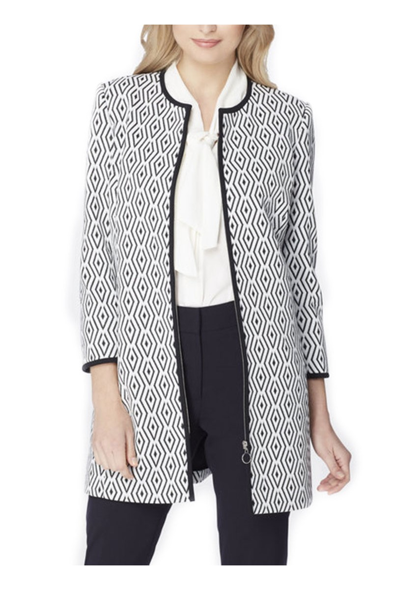Tahari - Diamond Jacquard Zip Topper - White Black