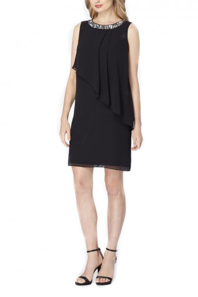 Tahari - Bejeweled Layered Chiffon Dress - Black
