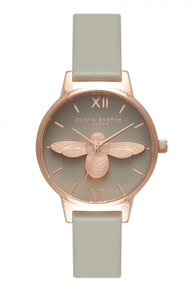 Olivia Burton - Midi Moulded Bee - Grey Dial and Rose Gold  Watch