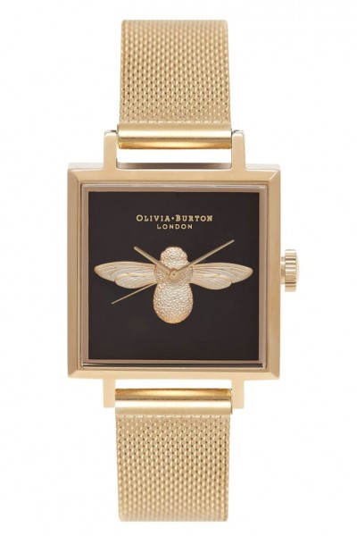 Olivia Burton - Square Dial 3D Bee Gold Mesh - Gold and Black Watch