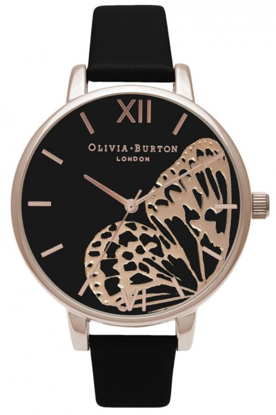 Olivia Burton - Applied Wing - Black and Rose Gold Watch