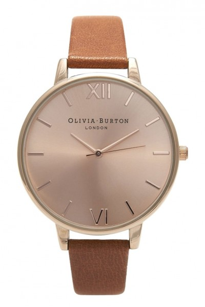 Olivia Burton - Big Dial - Tan and Rose Gold Watch