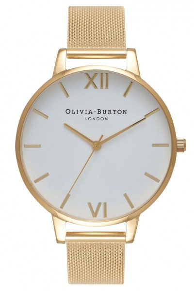 Olivia Burton - White Dial - Gold Mesh Watch