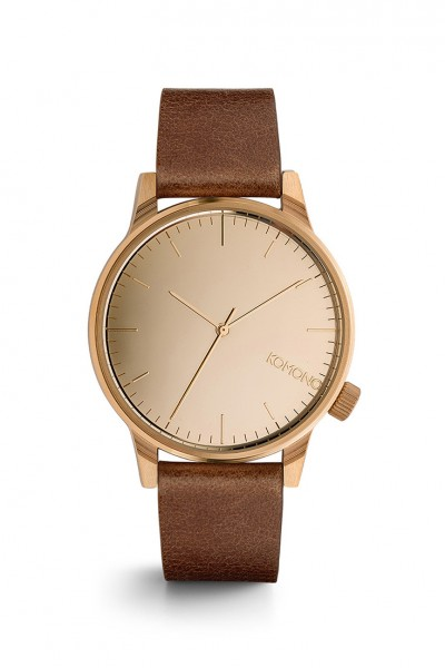 Komono - Winston Mirror Watch - Rose Gold Cognac