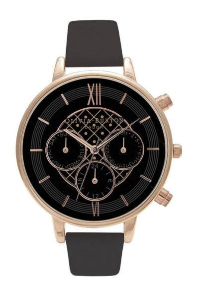 Olivia Burton - Chrono Detail Dot Design - Black & Rose Gold Watch