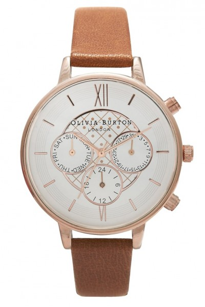 Olivia Burton - Chrono Detail Dot Design - Tan & Rose Gold Watch