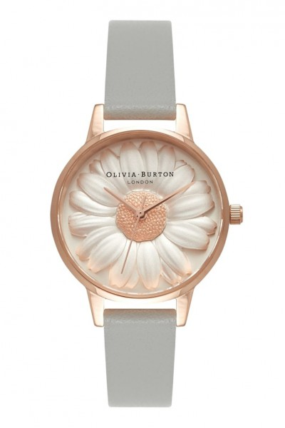 Olivia Burton - 3D Moulded Daisy - Grey & Rose Gold Watch