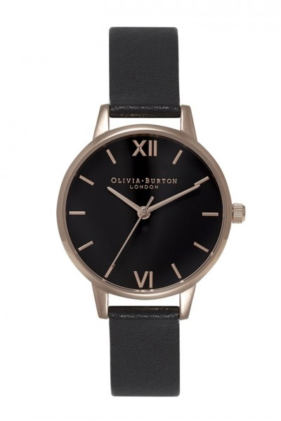 Olivia Burton - Midi Dial - Black & Rose Gold Watch