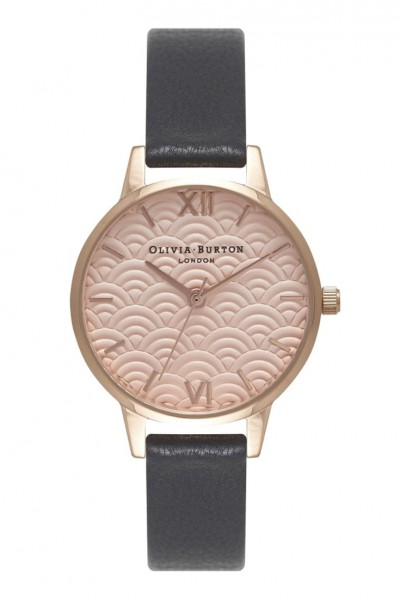 Olivia Burton - Scalloped Design Midi Dial - Black & Rose Gold Watch