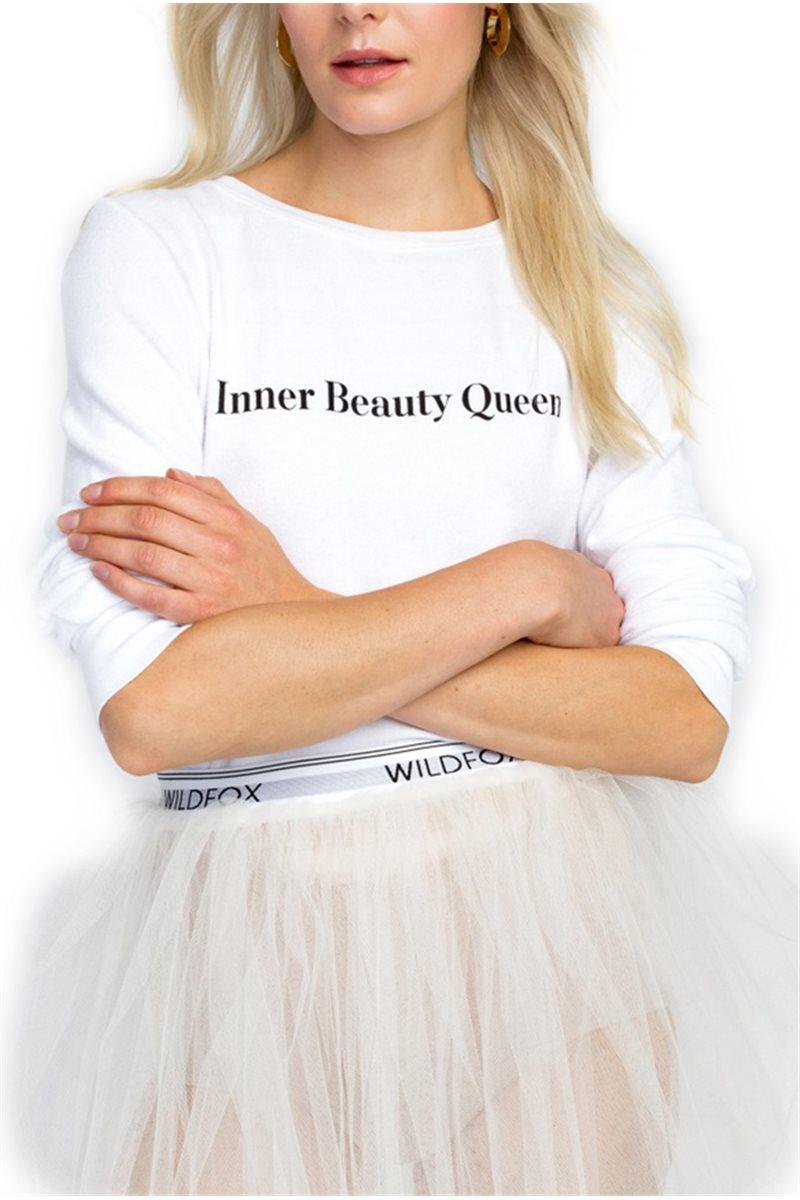 Wildfox - Inner Beauty Queen Baggy Beach Jumper - Clean White