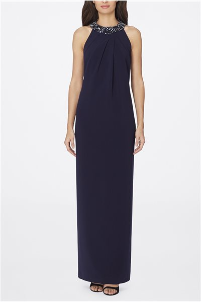 Tahari - Jeweled Halter-Neck Gown - Navy