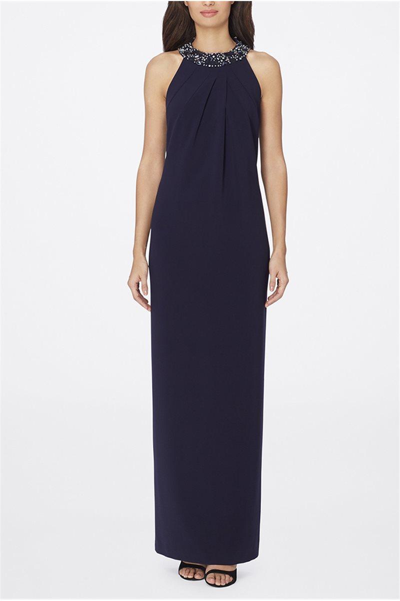 Blue Jeweled Halter Neck Dress