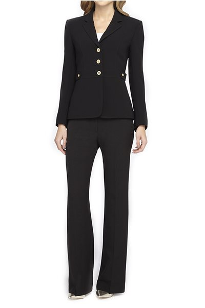 Tahari - Golden Button Crepe Pantsuit - Black