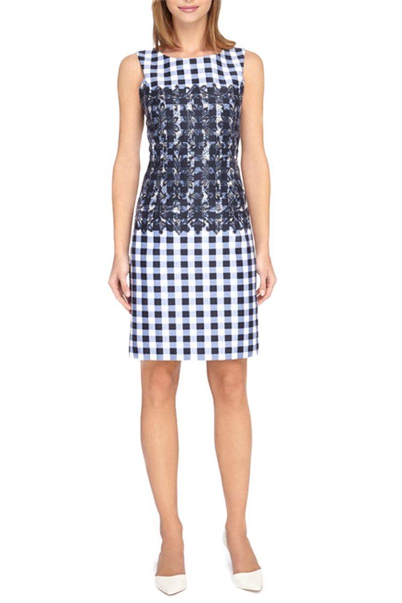 Tahari - Lace Detail Check Cotton Sateen Sheath Dress - Navy White