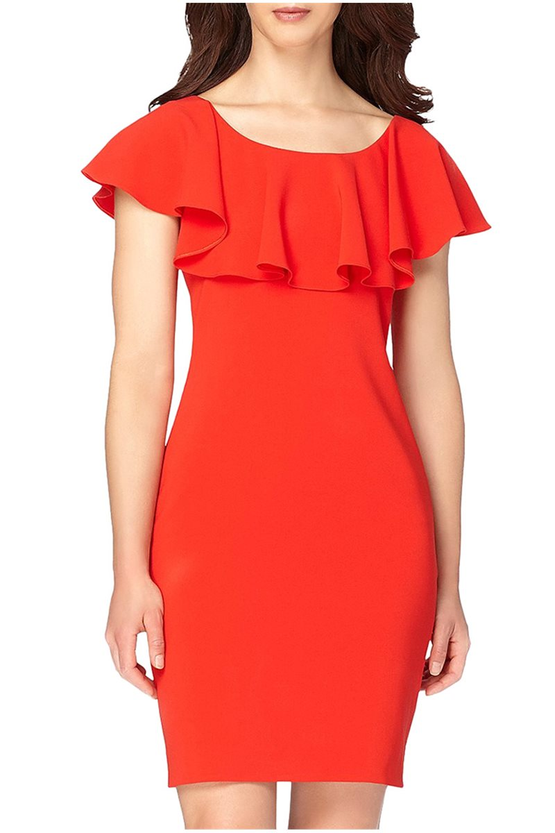 Tahari - Ruffle Shoulder Crepe Sheath Dress - Scarlet