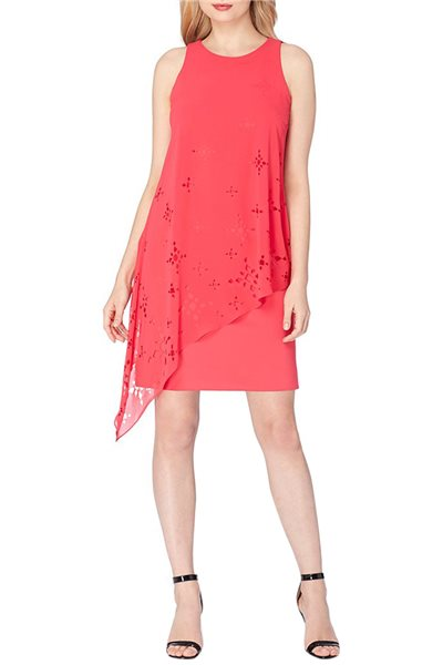 Tahari Brand - ASL Chiffon Popover Lace Sheath Dress - Rose