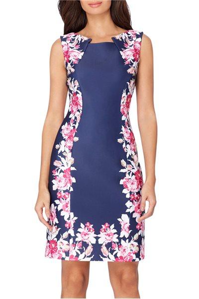 Tahari Brand - ASL Scuba Floral Print Sheath Dress - Navy Magenta White