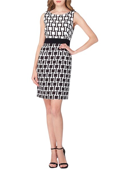 Tahari Brand - ASL Color Blocked Jacquard Sheath Dress - Ivory Black