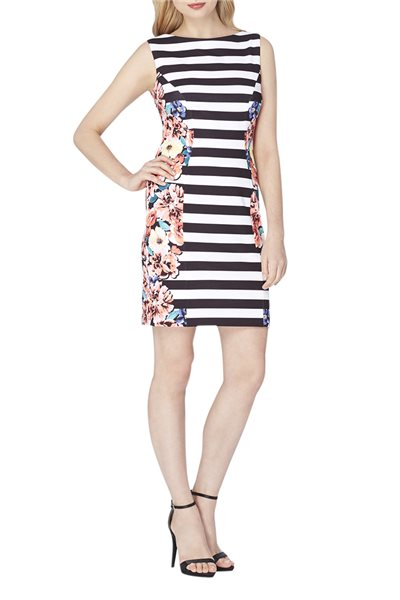 Tahari Brand - Floral Striped Scuba Crepe Sheath - Black White Coral