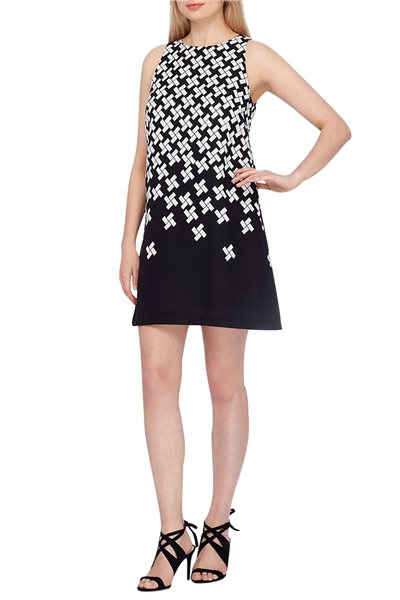 Tahari Brand - Black Printed Jacquard Shift Dress - Black White