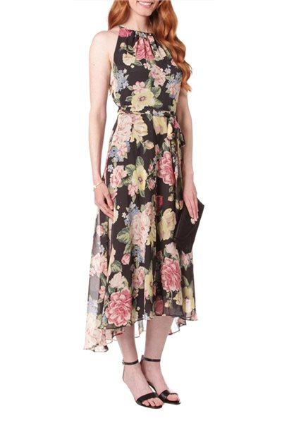 Tahari Brand - Tahari Arthur S. Levine Keyhole Floral Print Dress - Multi