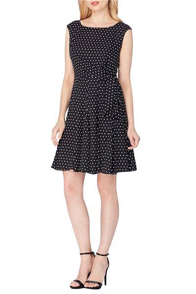 Tahari Brand - Tahari ASL Polka Dot Fit & Flare Dress - Black White