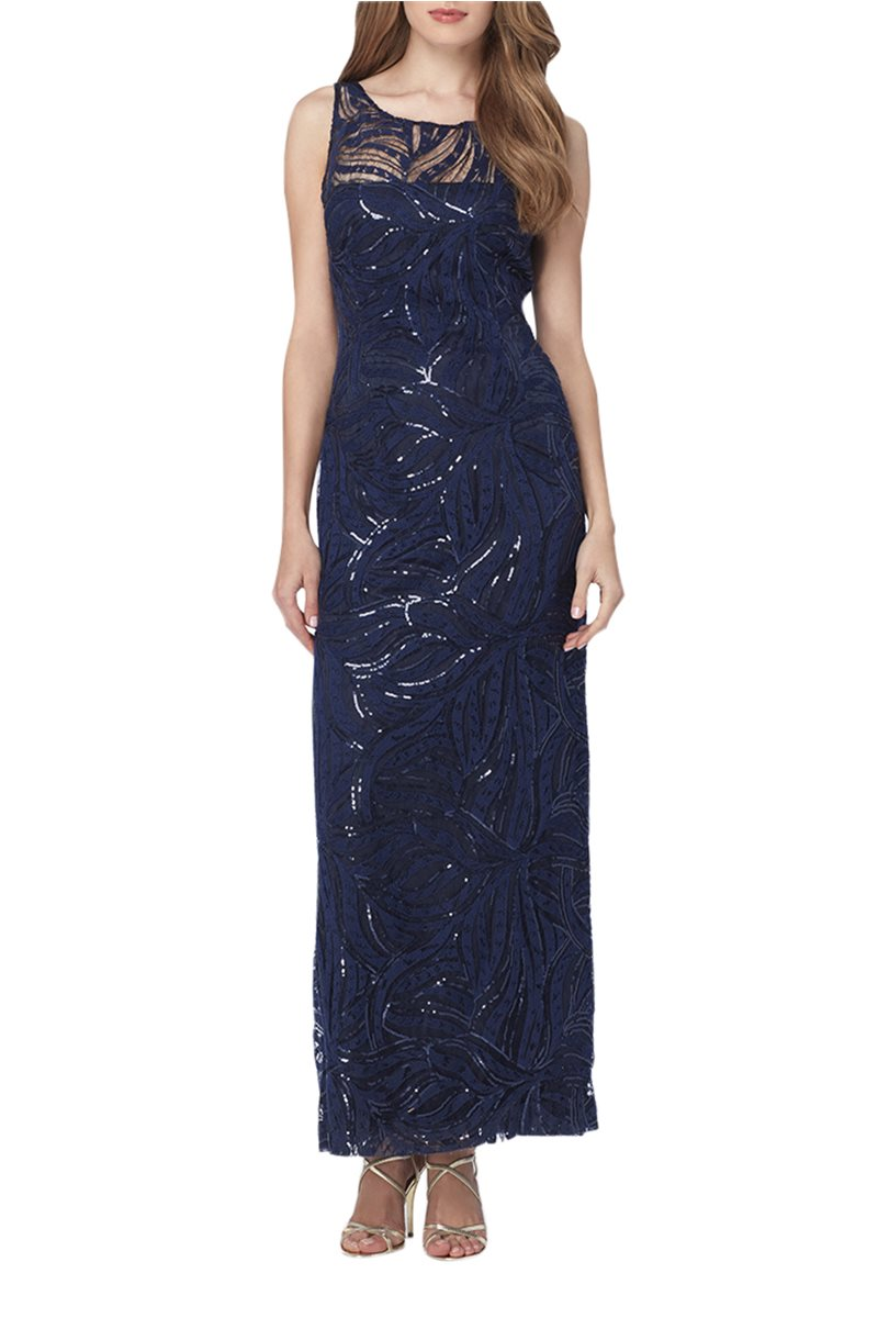 Tahari Brand - Illusion Neckline Sequin Gown