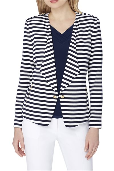 Tahari Brand - Striped Wing Collar Knit Jacket - Navy White