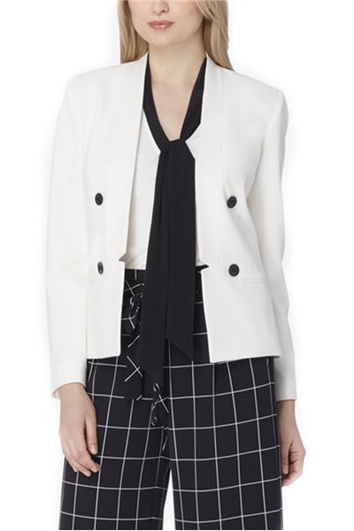 Tahari - Notched-Waist Bi-Stretch Jacket - Chalk
