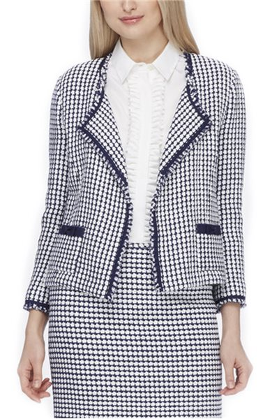 Tahari - Fringed Tweed Wing-Collar Jacket - Navy/White
