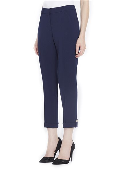 Tahari - Cropped-and-Cuffed Pebble Crepe Pants - Military Blue