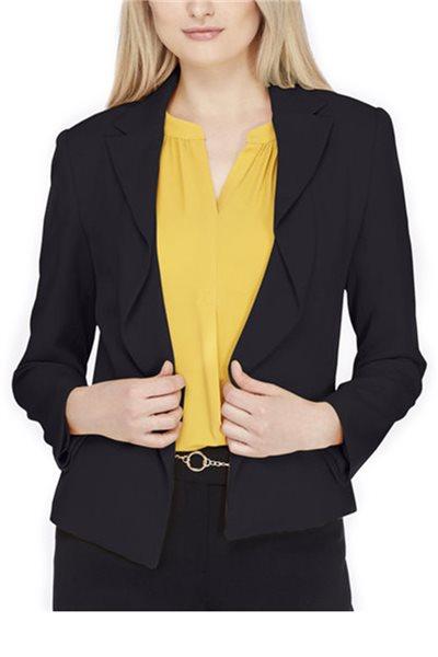 Tahari - Ripple-Front Crepe Tuxedo Jacket