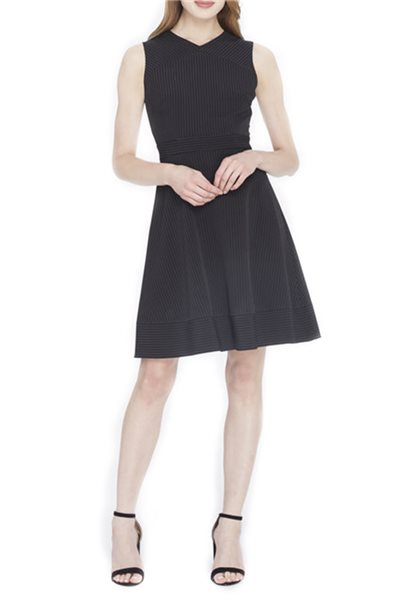 Tahari - Fit-And-Flare Pinstripe Dress - Black