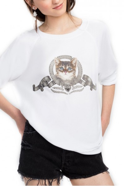 Wildfox - Silver Screen Kitten Sommer Sweater - White