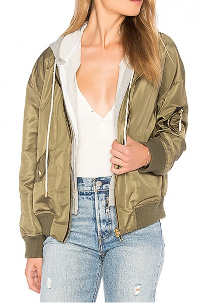 Central Park West - Los Feliz Bomber with Hoodie - Army