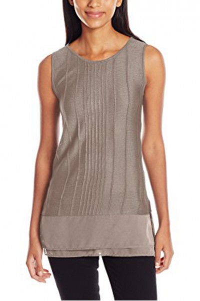 Nic+Zoe - Textured Chiffon Trim Tank - French Linen