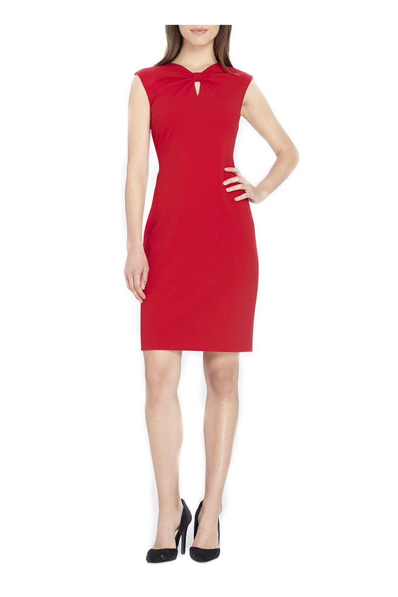Tahari Brand - Bow-Detailed Keyhole Sheath - Red