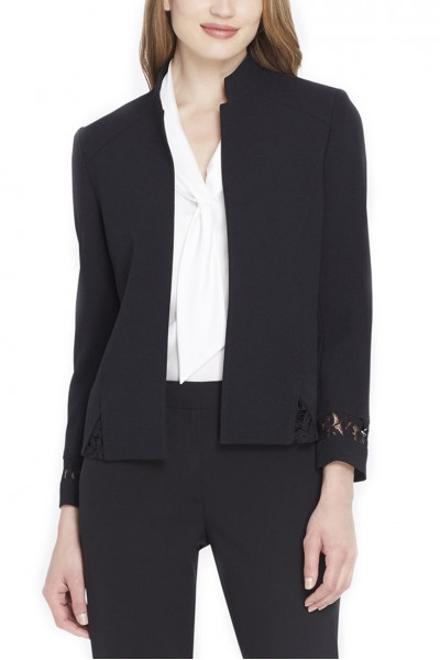 Tahari Brand - Lace-Back Crepe Jacket - Black