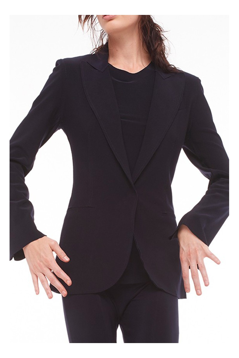 Norma Kamali - Single Breasted Jacket Bonded - Black