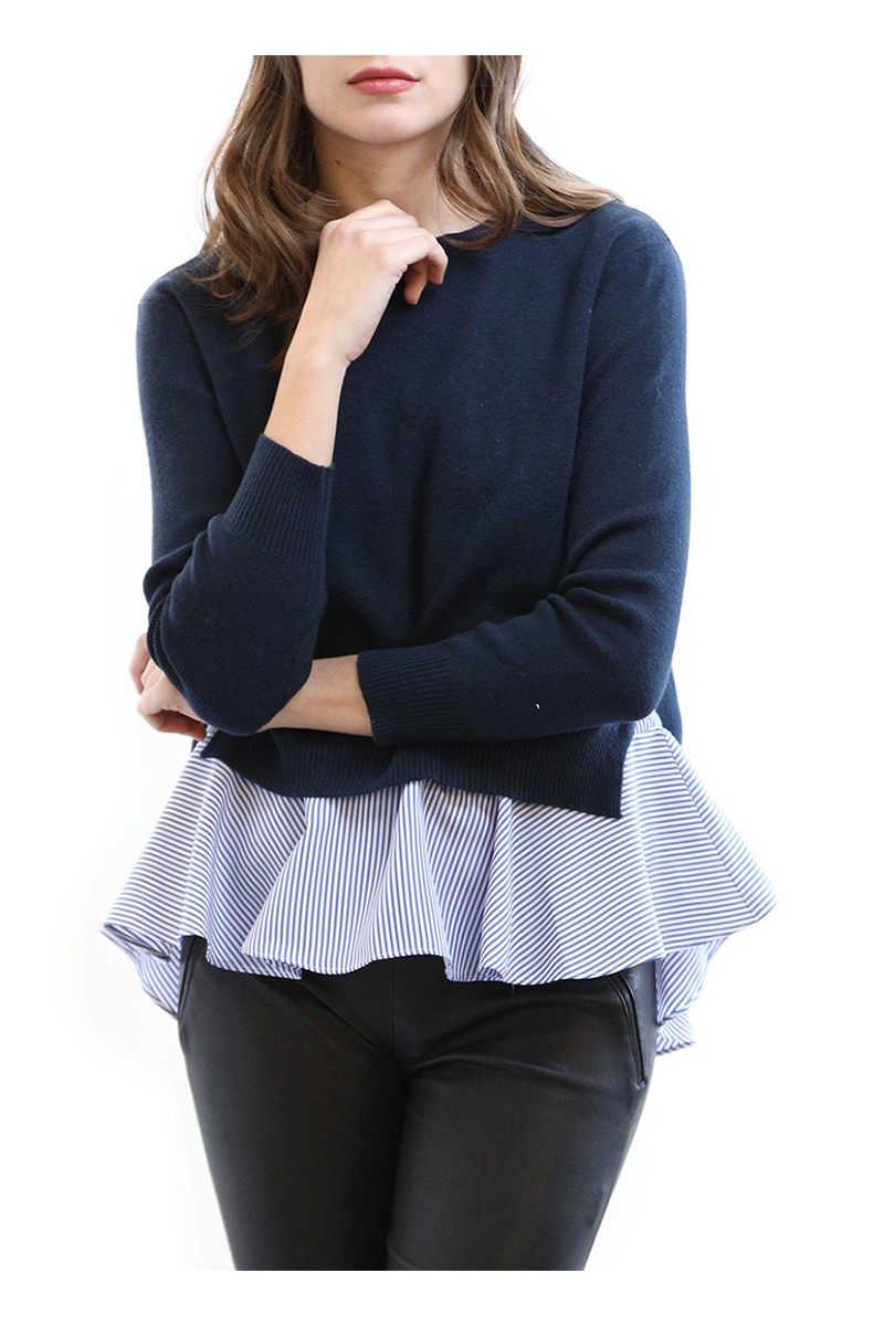 Central Park West - Bleeker Flounce Bottom Sweater - Navy Blue