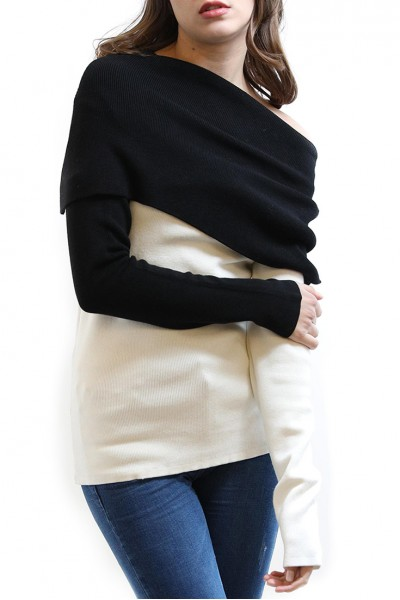 Central Park West - St. Marks Fold Neck Sweater - Black White