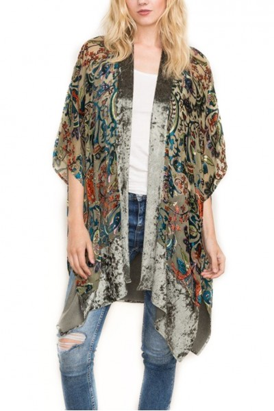 Mystree - Flocked Velvet Print Kimono - Olive Mix