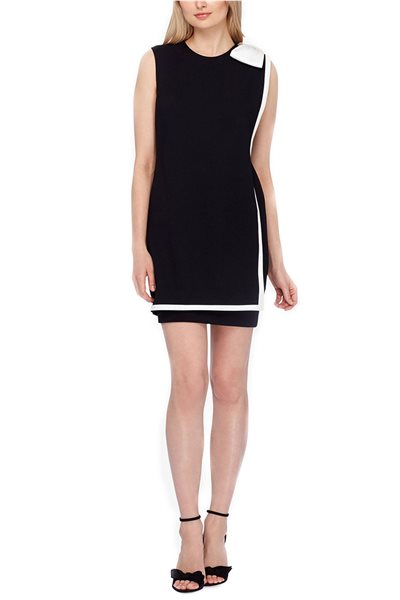 Tahari Brand - Bow & Panel Sheath Dress - Black Ivory